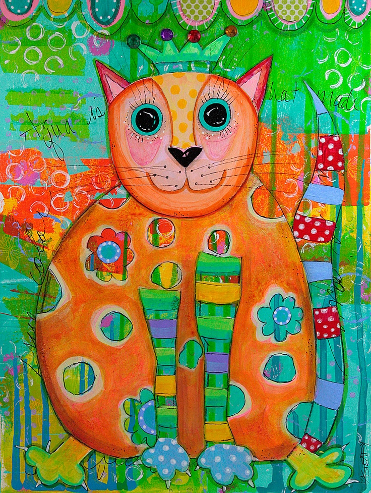 "Cat Art Print Reproduction of Original Art - Colorful Cat with Crown. Aqua, Orange Blue and Red on Etsy (8 1/2"" x 11""). $15.00, via Etsy."