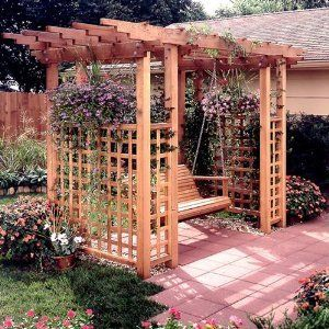 Pergola With Swing Grow Grape Vines On The Trellis And Add String Lights
