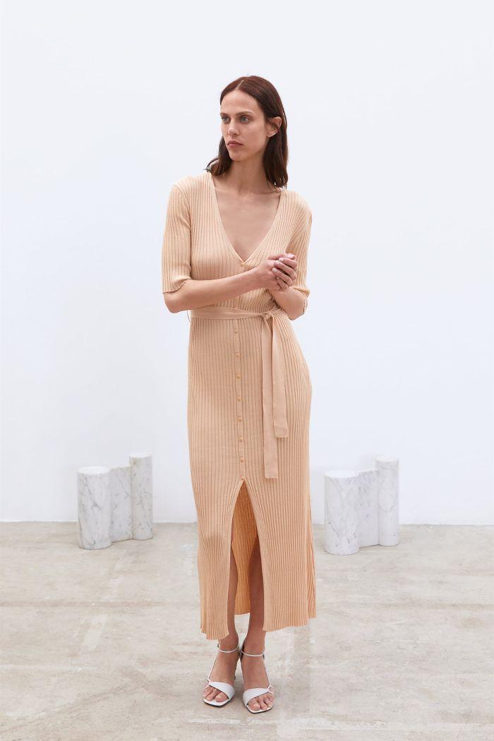 5d6a682a7f6 Zara Belted Knit Dress