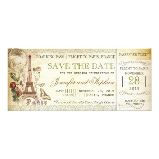 Paris boarding pass tickets for save the date custom invitation