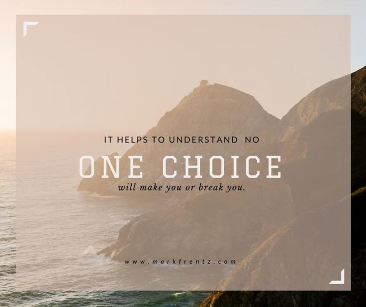 I've heard people talk about 'one bad choice' that completely destroyed their life. That's absolutely 100% false.   It was simply the last choice they made on that journey that they are referring to (there were many others before that). Remember this and be encouraged that one choice in any direction won't affect you greatly especially if the next few choices are moving you in a different direction.  #YYC #YYCEntreprenuer #CompoundEffect #Choice