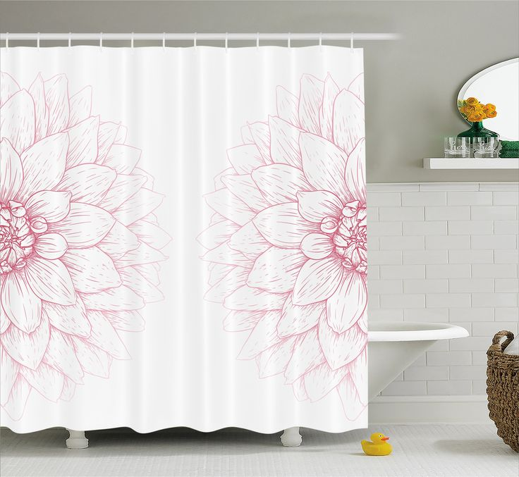 Dahlia Flower Decor Shower Curtain by Ambesonne, Simplistic Drawing of Bushy Sunflower Daisy Like Large Petals Image, Fabric Bathroom Decor Set with Hooks, 75 Inches Long, White Pink