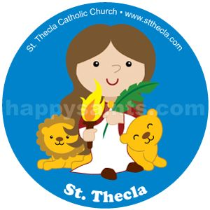 St. Thecla was one of St. Paul's disciples. The Romans sentenced her to be eaten by wild beasts but miraculously, the female beasts protected her! Her feast day is celebrated on 23 September. This is a custom artwork created specially for St. Thecla Church and School (Clinton, Michigan).