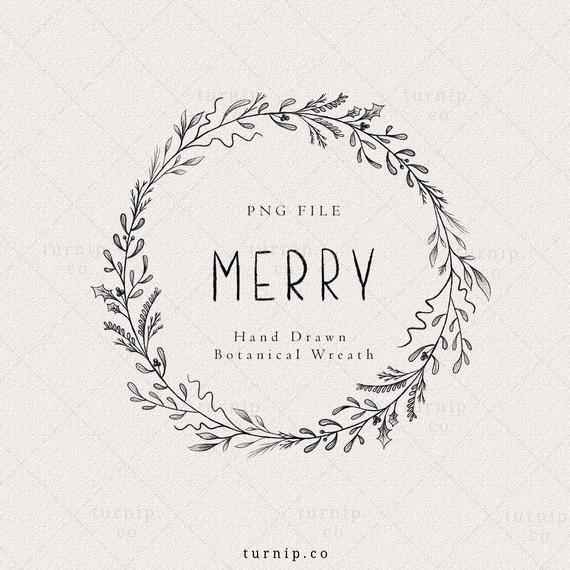 Christmas Wreath Clipart Png Leaf Frame Black And White Etsy Christmas Wreath Clipart Christmas Wreaths Frame Wreath