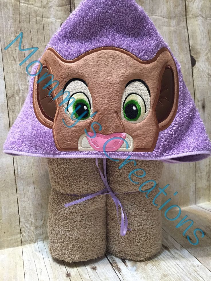 """Lioness Lion Cub Applique Hooded Bath Towel, Beach Towel 30"""" x 54"""" by MommysCraftCreations on Etsy"""
