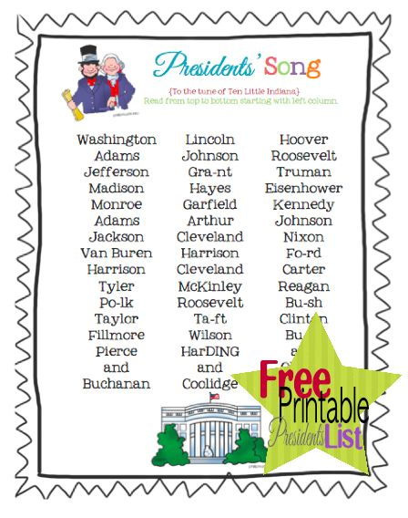 "US Presidents song printable...the way I learned the Presidents...with the tune of the ""Ten Little Indians"""