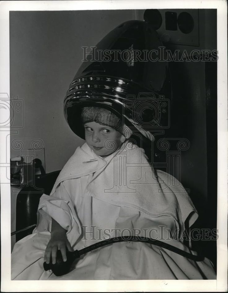 WOW!  Perms have come a long way since then!!!  (1941 Press Photo Baby Sandy sits under the dryer and cant wait to see her locks.)
