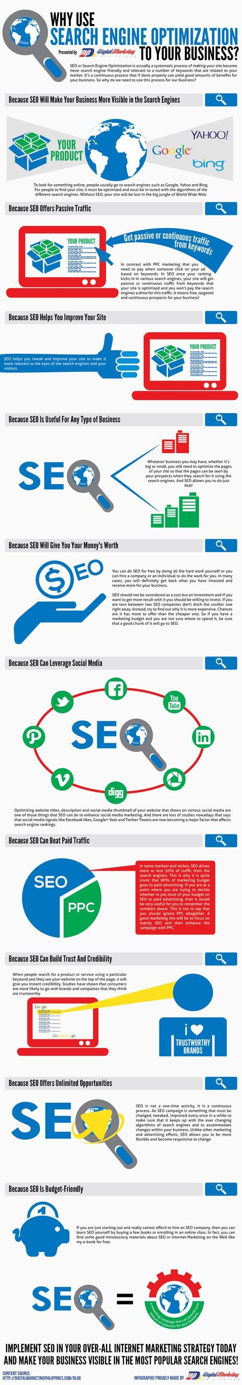 Why Use Search Engine Optimization to Your Business? #SEO #Marketing #Infographic (scheduled via http://www.tailwindapp.com?ref=scheduled_pin&post=191501)
