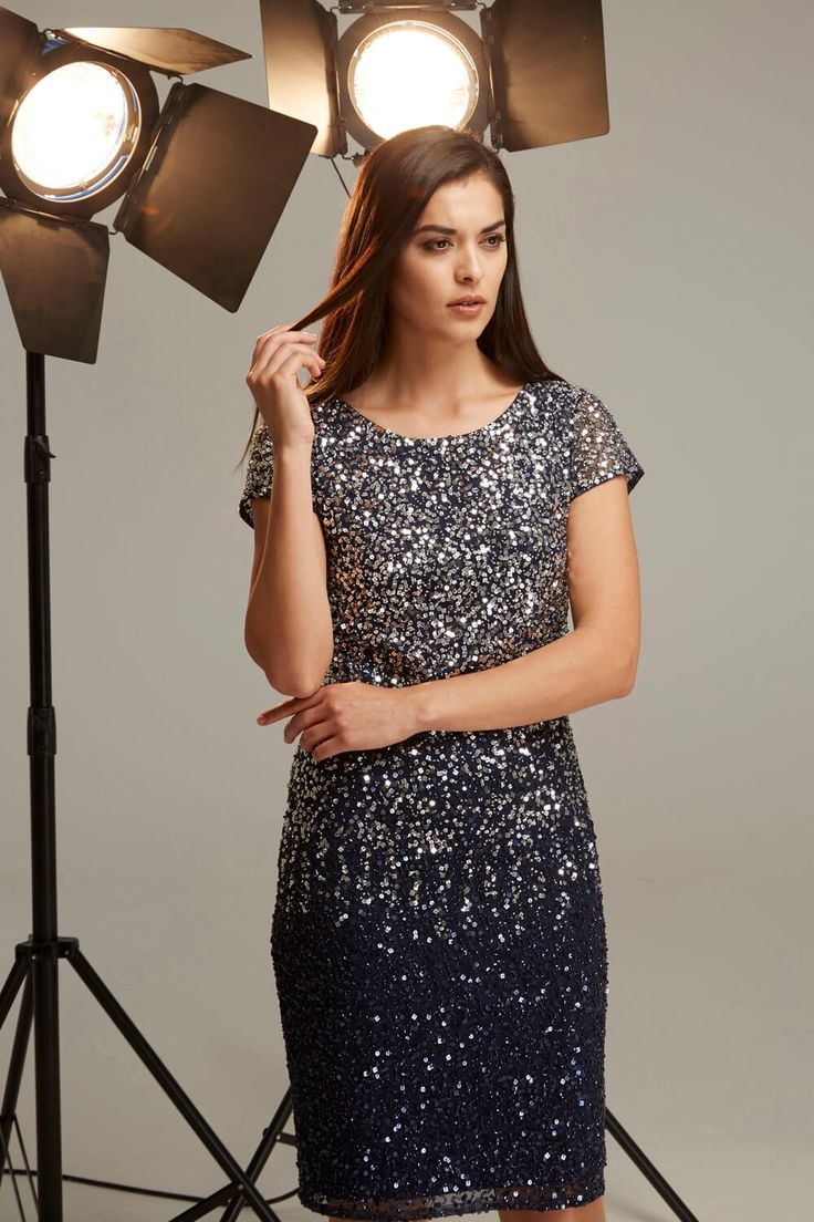 Ombre Sequin Shift Dress - Free UK Delivery - 10 12 14 16 18 20 - Work some party season sparkle with this ombre sequin occasion dress. With a gorgeous midnight blue shade, flattering round neckline, classic knee length and a fitted cut, this fully lined dress is ideal for any evening occasion, formal event or party. - Romanoriginals.co.uk