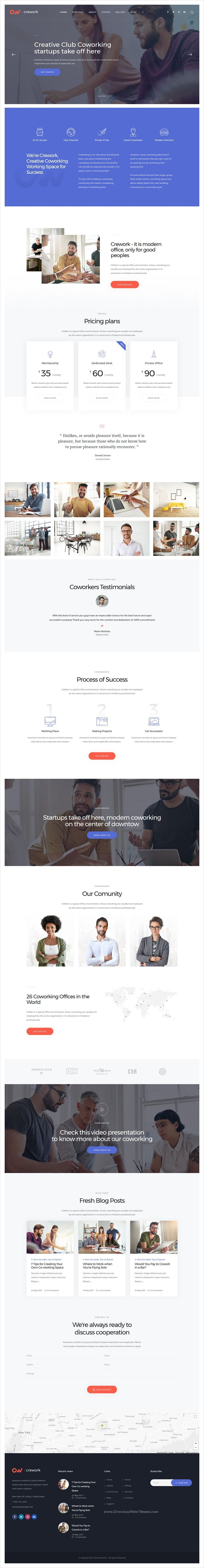 Crework is clean and modern design 3in1 responsive #WordPress theme for creative co-#working, open #office, workshop and conferences website download now..