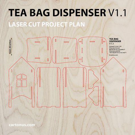 Dispensador del bolso de té. Corte del laser Modelo de por cartonus