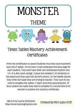 Print the certificates to award students once they have mastered each set of tables. In my room I have laminated the base page for each student. They each have their own whiteboard marker and 1/4  of a dish wash sponge. I place the numbers 1-12 randomly on the board and they copy into the left column.