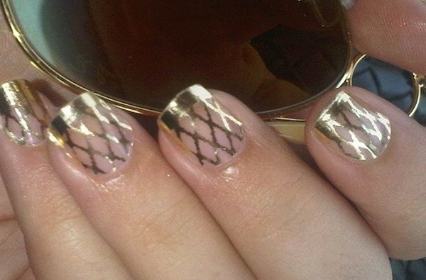 Gold Fishnet Nail Design