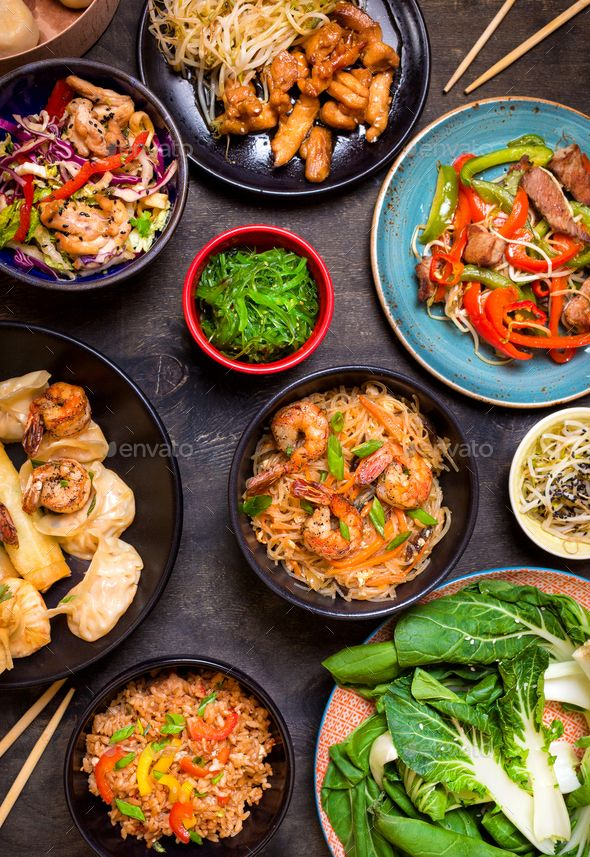 Chinese Food On A Dark Table In 2020 Chinese Food Food Asian Cuisine