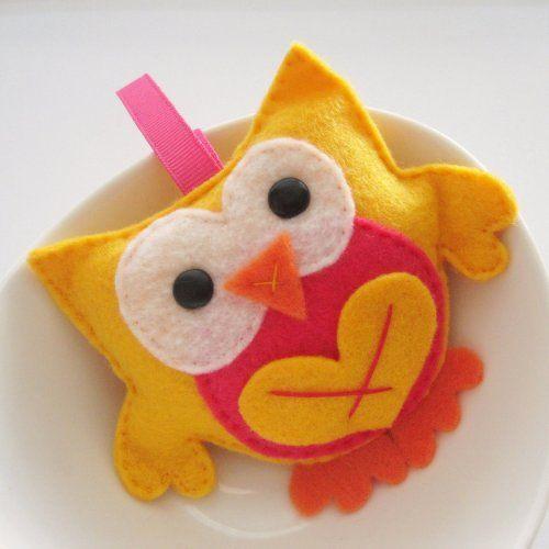 Stuffed owl, mini felt owl birthday gift for a little child