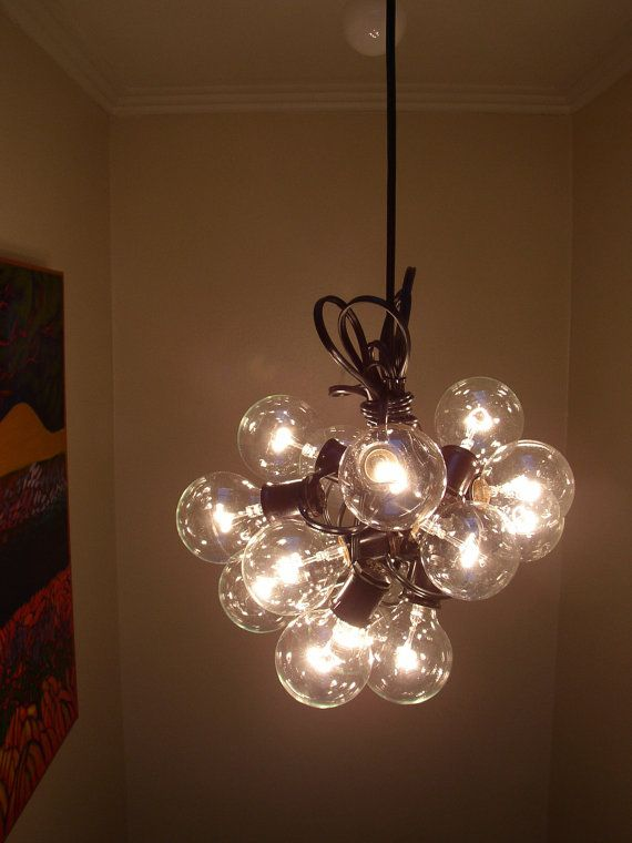 String Lights With Chandelier : 15 light Bulb lamp Recycled re purposed cluster bulb Chandelier Light bulb lamp, Cha cha and ...