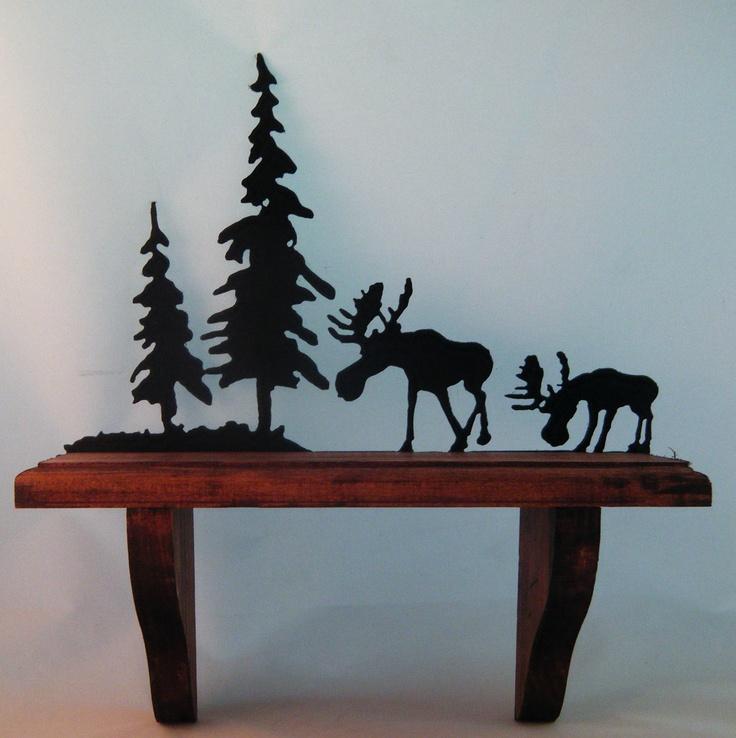 So Alaska: Wooden Shelf with Moose & Pine Trees Metal Art via Etsy