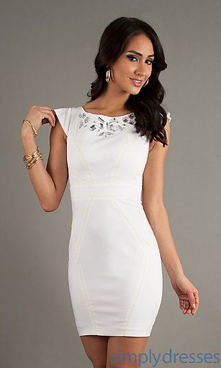 White Cocktail Dress with Open Back by XOXO--rehearsal dress