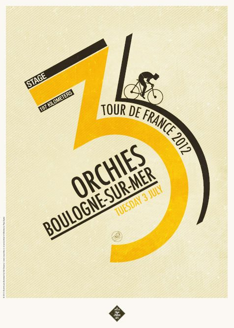 Tour Type I was recently looking through the portfolio of graphic artist Neil Stevens and saw his retro-style posters for the different Tour de France stages. As a keen cyclist in and around London, these really appealed to me. The lettering based compositions successfully mix a number of historical graphic styles all hinging around the '50s looking cyclist.  I spoke to Neil about the typefaces used. The chunky numbers used as the main character in 1, 4 & 5 (tog
