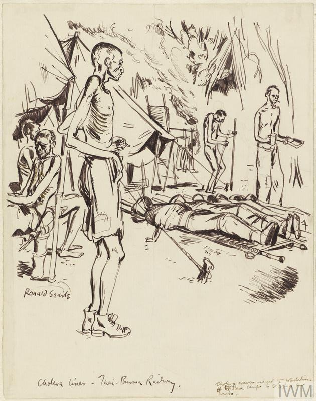 Sick and Dying: Cholera Lines - Thai-Burma Railway, 1943.