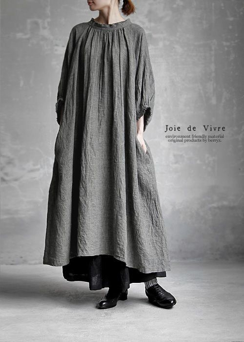 New8/9(wed)10:00。【送料無料】Joie de Vivre東炊きリネングレンチェック アンティークワンピース