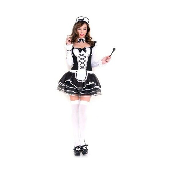 Women's Pretty Proper French Maid Costume ($39) ❤ liked on Polyvore featuring costumes, lady halloween costumes, sexy women halloween costumes, sexy womens costume, white costume and sexy maid costume