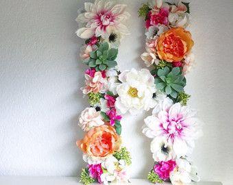 Floral Letter 19 24 Large Flower Letter Floral от BegoniaRoseCo