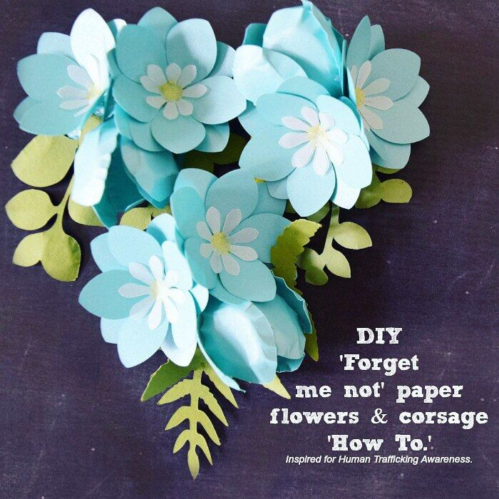This 'Forget me not' paper flower corsage design is inspired for Human Trafficking Awareness. Blue is the representative color and the flower name fits the cause. All proceeds earned from this flower will go to Human Trafficking organizations.