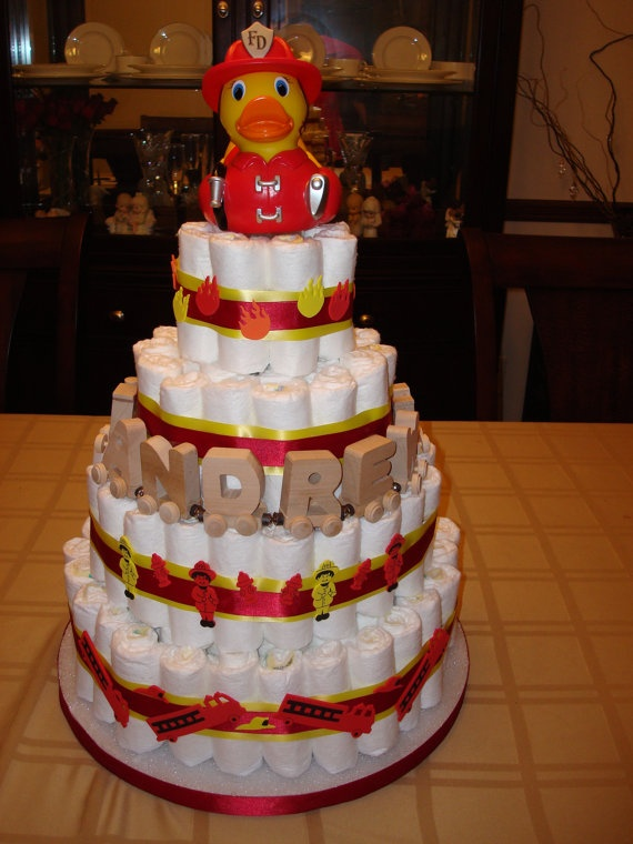 Firefighter Cake by TwoSistersDiaperCake on Etsy, $150.00