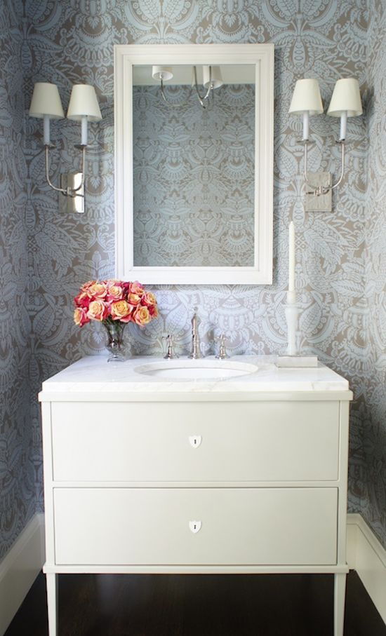 144 best images about beautiful powder rooms on pinterest for Wallpaper for small powder room
