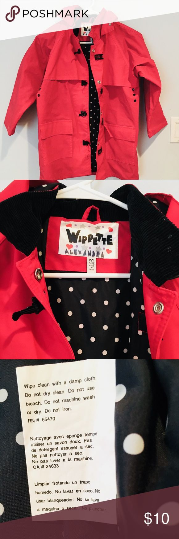 Girls Red Rain Parka size M (5-6) Wippette brand Girls rain parka with black and white dotted lining. (Name is written on the label) wippette Jackets & Coats Raincoats