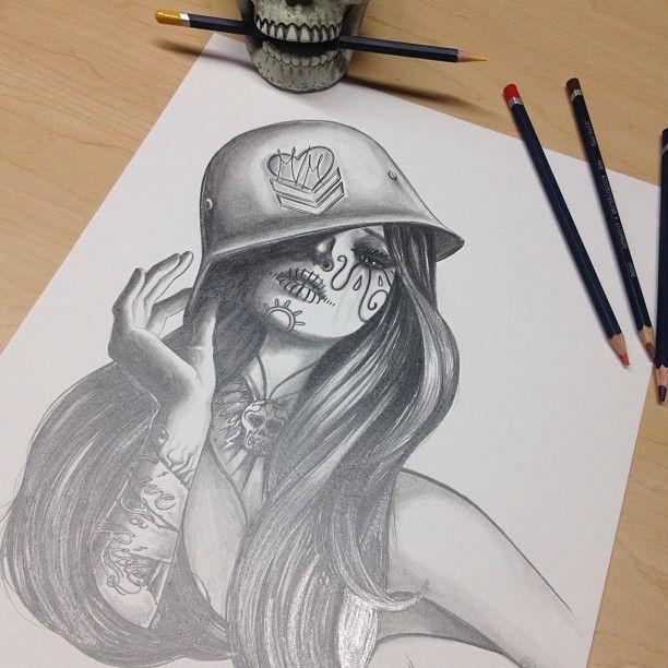 Metal Mulisha artist Bre drew up this beautiful piece of artwork for an upcoming tee. Sexy. Elegant. skull. Art.