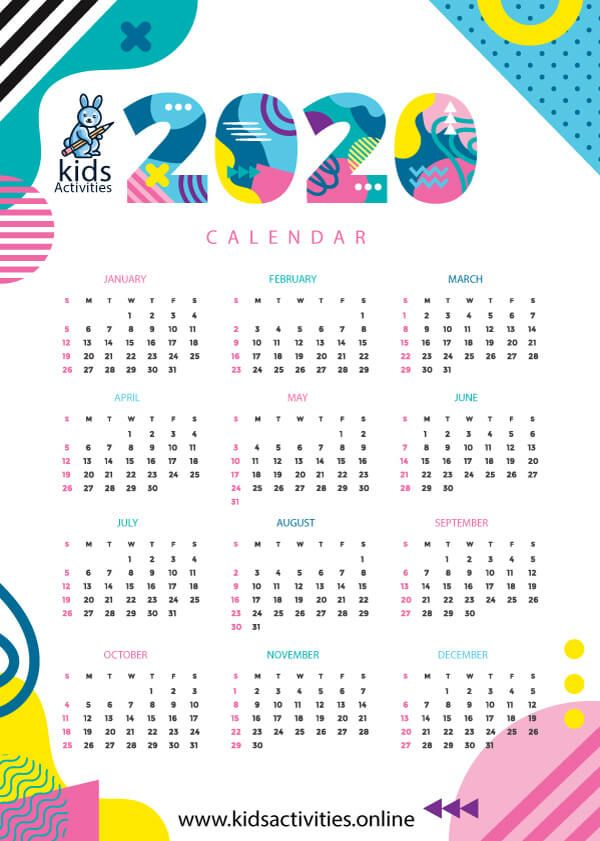 Free Cute Colorful Calendar 2020 Printable In 2020 Coloring