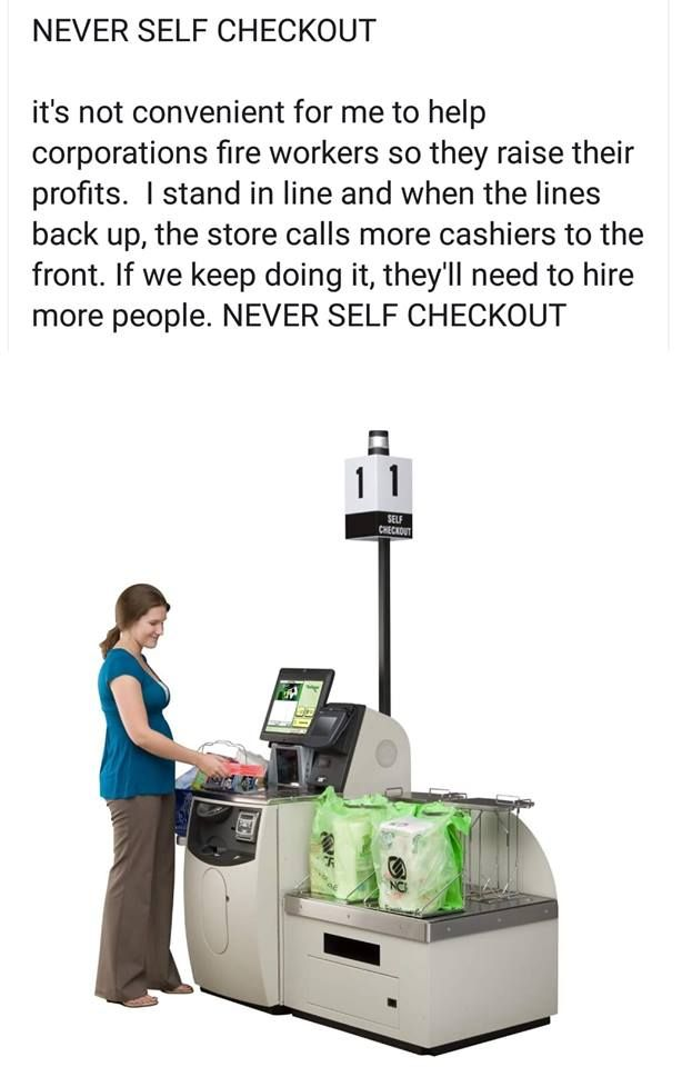 My husband & I have never used self checkout for this very