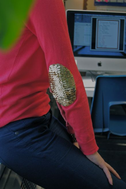 DIY sequin elbow patch sweater - see kate sew