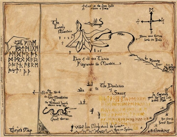 Map of the Lonely Mountain and secret door into Erebor