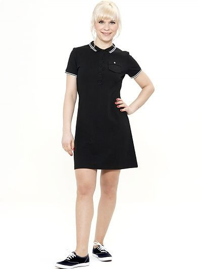 Mademoiselle Yeye Florence Polo Dress, black 60s style vintage polo jurk jaren 60 look zwart wit