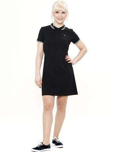 Mademoiselle Yeye Florence Polo Dress, black 60s style vintage polo jurk jaren 60 look zwart wit