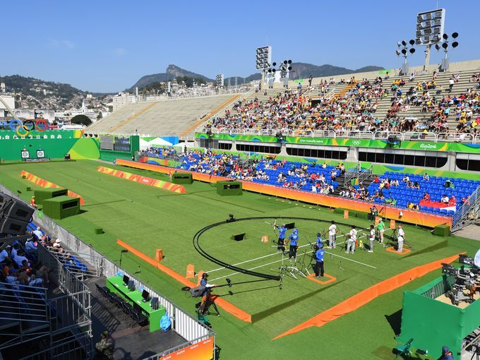 A general view of the archery competition during the