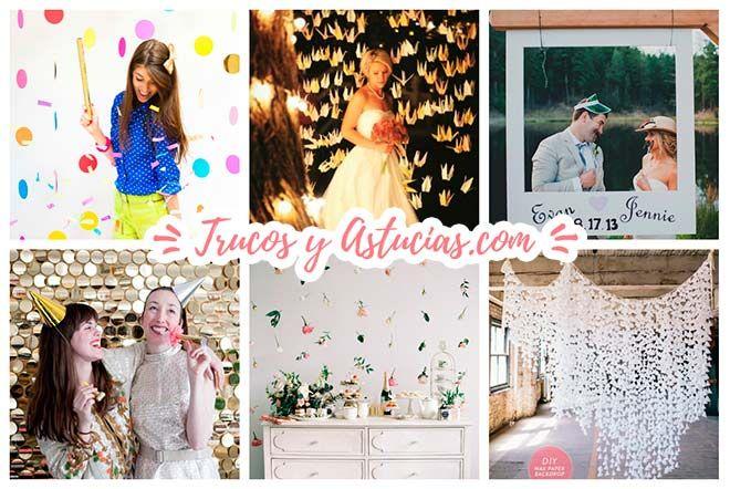 fondos para photocall caseros con cortinas de papel, flores y otros materiales muy originales  #wedding #bodas #decoracion #decoration #crafts #diy #ideas #manualidades #backgrounds #fondos #garlands #guirnaldas #cortinas #curtains