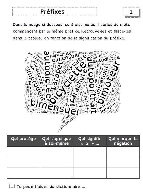 exercices sur les préfixes et les suffixes - De deux choses l'une... | Préfixes, Familles de ...