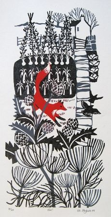 by Liz Myhill, plants, garden, lino, printmaking, design, pallet, fox, nature, print, illustration, veg patch