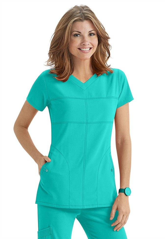 Greys Anatomy Signature 2-pocket v-neck scrub top in Bali Green | Scrubs and Beyond