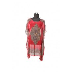 Silk Kaftan Top - Red