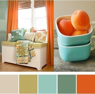 What a pretty kitchen choice with the brown, tan, turquoise in the living area, just add the tangerine in the kitchen , what a  pretty seamless transition....