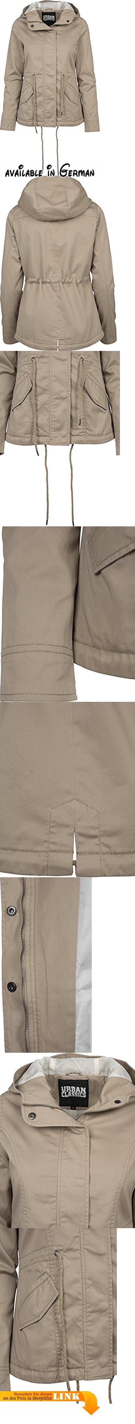 Urban Classics TB1820 Damen und Mädchen Basic Cotton Parka, Jacke aus Baumwolle für Herbst und Winter mit Kapuze, Taille verstellbar, Tunnelzug-Saum - sand, Größe S. Hochwertige und robuste Übergangsjacke aus Baumwolle-Polyester-Mix und Lining aus Polyester zur Überbrückung der kühleren Tage im Frühjahr und Herbst. Ein hochschließender Reißverschluss und die davor liegende Blende mit Knopfleiste sorgen dafür, dass der Wind nicht in die Jacke gelangt und man nicht