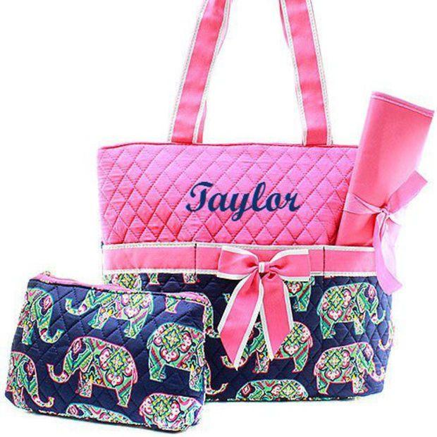 Personalized Diaper Bag  Monogrammed Pink Elephant Diaper Bag