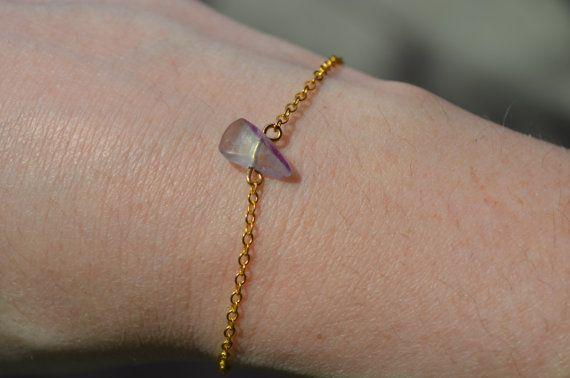 Fluorite Bracelet Dainty Gold Chain Bracelet Birthstone Jewelry Crystal Bracelet…