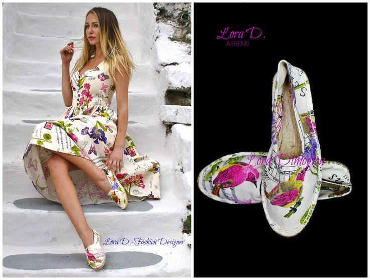 Νέο προιόν από την Lora Dimoglou-Fashion Designer.Espadrilles χειροποίητες και σχεδιασμένες από την ίδια πολλά και μοναδικά σχέδια και χρώματα ,για να ομορφύνουν και να χρωματίσουν την Άνοιξη και το Καλοκαίρι σας!Θτα βρείτε με παραγγελία από την ίδια στο τηλέφωνο ή στο ινμποξ της σελίδας https://www.facebook.com/Lora.Dimoglou/ και τώρα σε αποκλειστικότητα και στο κατάστημα της Μυκόνου Mykonos Sandals https://www.facebook.com/mykonos.sandals2/  Espadrilles handmade by : Lora Dimoglou