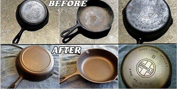 Enlever la rouille d'un poêlon en fonte naturellement avec du sel et de la pomme de terre crue